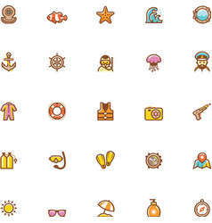 Sea vacations icon set vector image vector image