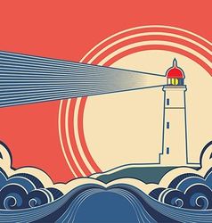 Seascape with lighthouse vector image vector image
