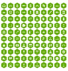 100 adventure icons hexagon green vector