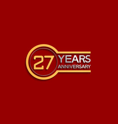 27 years anniversary golden and silver color vector