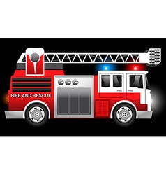 3D of a Red Fire and Rescue truck with flashing vector