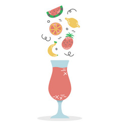 a glass fruit smoothie proper diet vitamin vector image