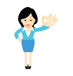 A woman with a finger gesture ok vector