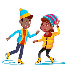 afro americal girl and boy in winter clothes vector image