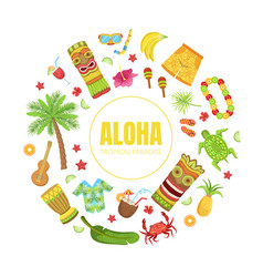 aloha tropical paradise banner template hawaiian vector image
