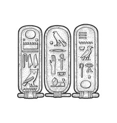 Ancient egyptian cartouche sketch vector