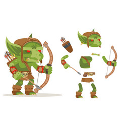 Archer goblin dungeon monster evil minion fantasy vector