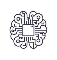 Artificial intelligence brain icon - ai vector