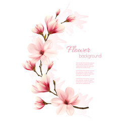 beautiful pink magnolia background vector image