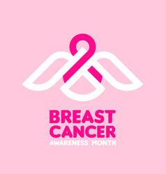 bird holding pink ribbon breast cancer awareness vector image