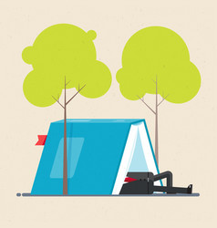 Businessman is resting in tent under trees the vector