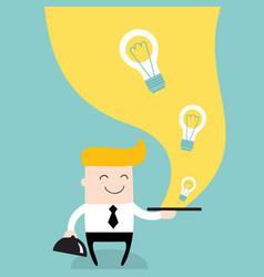 Businessman serve ideas on the plate business vector