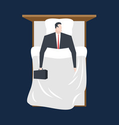 Businessman sleeping in bed manager rests vector