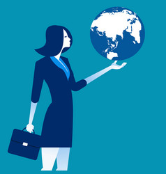 businesswoman holding the globe concept business vector image