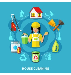 Cleaning House Round Composition vector