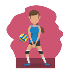 Color scene with faceless woman volleyball player vector