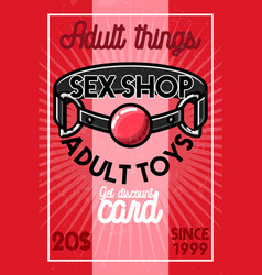 Color vintage sex shop banner vector