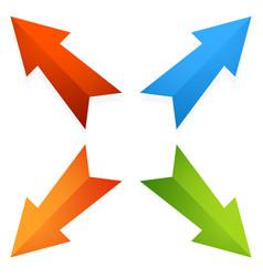 Colorful 4 way diagonal arrows pointing outwards vector