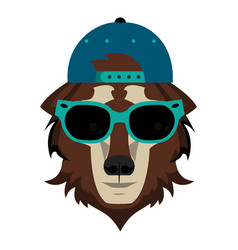 Cool hipster wolf vector