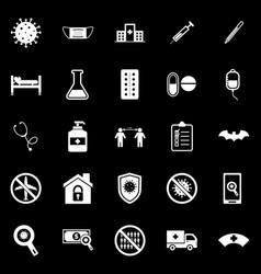 coronavirus icons on black background vector image
