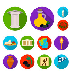 Country greece flat icons in set collection for vector