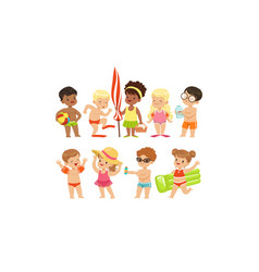 Cute happy boys and girls playing swimming and vector