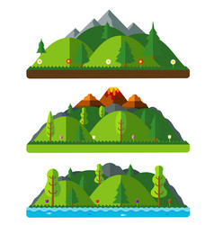 Design nature landscapes hills and mountains vector