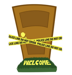door with police line tape vector image