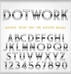Dot Work Alphabet in 80s Retro Futurism style vector
