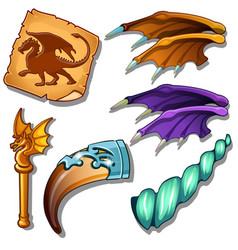 Dragon set - wings picture horn and golden rod vector
