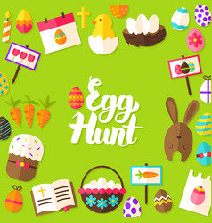 egg hunt lettering postcard vector image