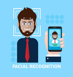 Facial recognition concept hand holding smartphone vector