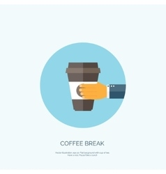 Flat background with hand and vector