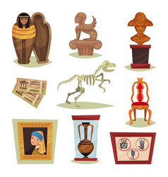 Flat set of 9 different museum objects vector