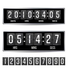 flip countdown timer analog black digital vector image
