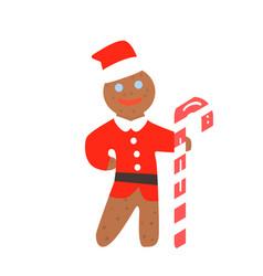 Gingerbread man christmas in santa hat vector