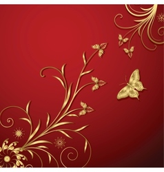 Gold Floral Abstraction vector image