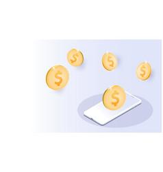 Gold us dollar coin smartphones futuristic smart vector
