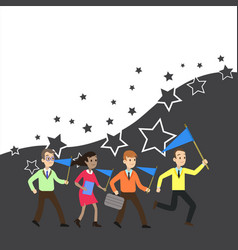 Group business people three men and one woman vector