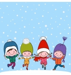 Group of four happy kids on snow background vector image