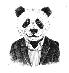 Hand drawn dressed up hipster panda vector