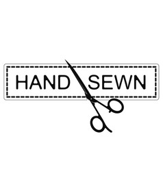hand sewing and scissors symbol vector image