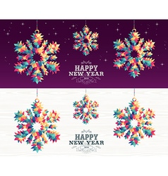 Happy new year 2016 snowflake triangle hipster vector image