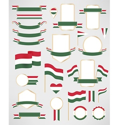 Hungary flag decoration elements vector