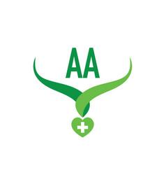 Initial letter aa creative health green logo vector