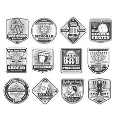 Judaism hanukkah menorah jewish torah david star vector