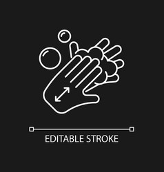 Lathering back of hands white linear icon for vector