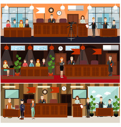Legal trial concept flat poster set vector