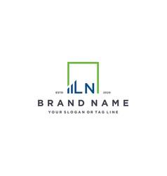 Letter ln square logo finance design vector