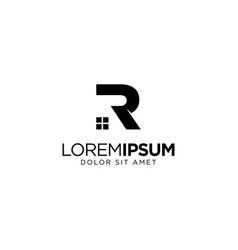 Letter r home and real estate logo design vector